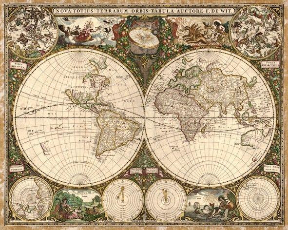 Carta Da Parati Classica Toile Volpe: Ancienne Carte Du Monde: Frederick De Wit, 1660.
