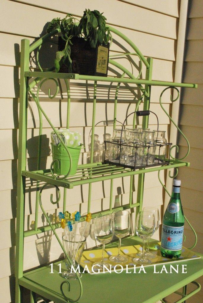 Outdoor entertaining shelf from bakers rack   11 Magnolia Lane
