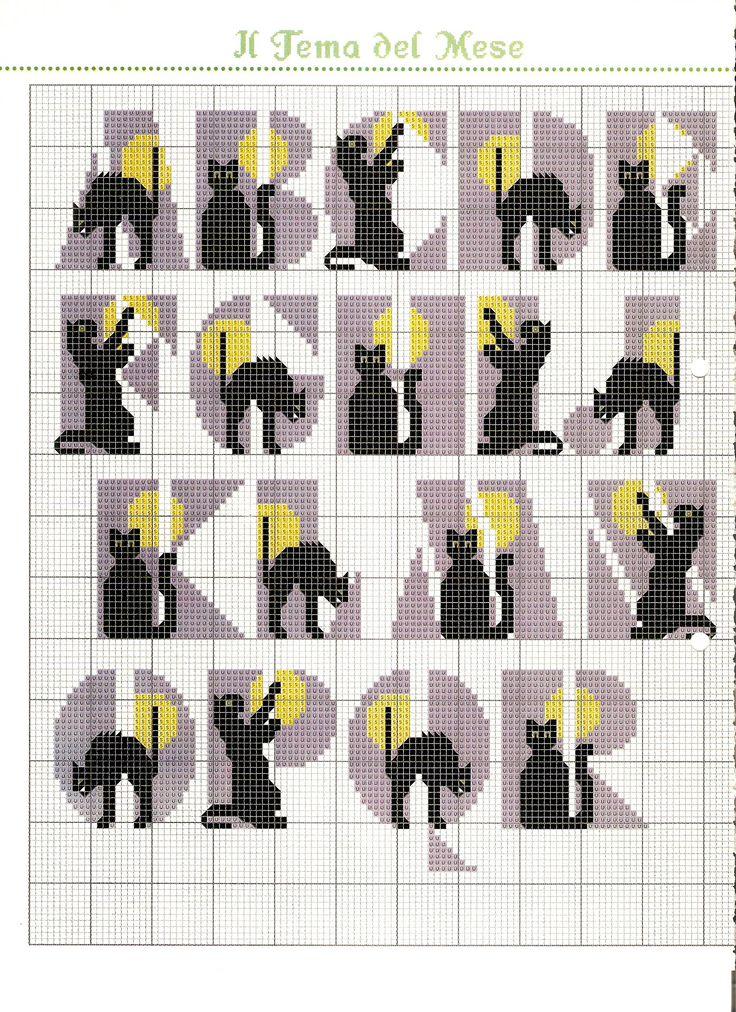 Alfabeto con gattini neri schema punto croce (1)