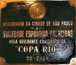 Homenagem do governo paulistano ao Palmeiras pela conquista da Taça Rio 1951 em 22/07