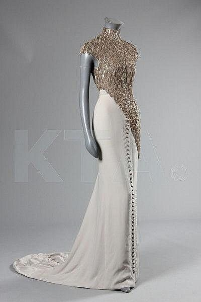 Alexander McQueen for Givenchy chain-fringed grey crêpe de chine evening gown, Spring-Summer haute couture collection, 1998