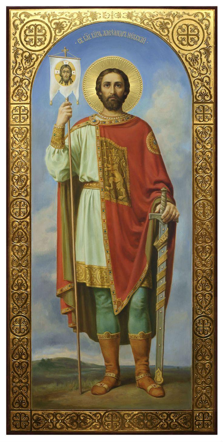 Святой Александр Невский, храмовая икона в академическом стиле