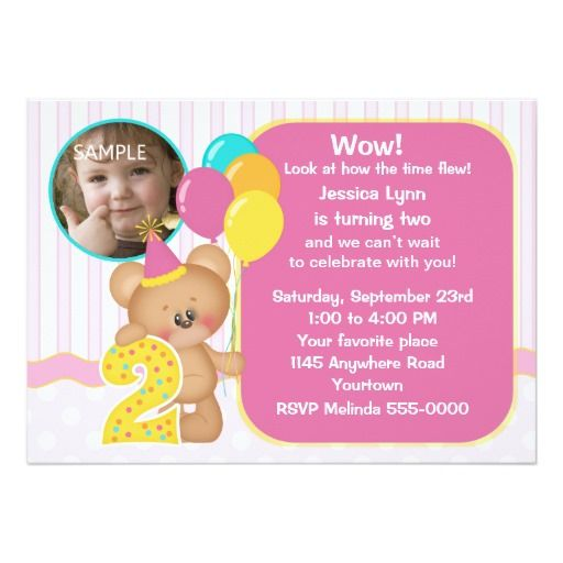 419 best 2nd birthday party invitations images on pinterest 2nd teddy bear 2nd birthday photo card filmwisefo