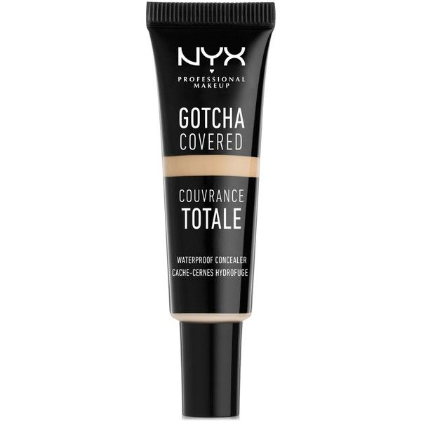Nyx Professional Makeup Gotcha Covered Waterproof Concealer ($6) ❤ liked on Polyvore featuring beauty products, makeup, face makeup, concealer, alabaster, nyx and nyx concealer
