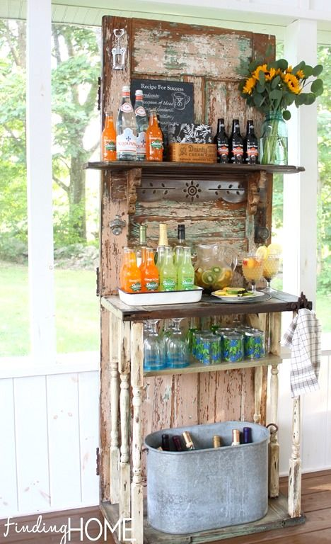 Vintage old door outdoor beverage station by Finding Home featured on http://www.funkyjunkinteriors.net/