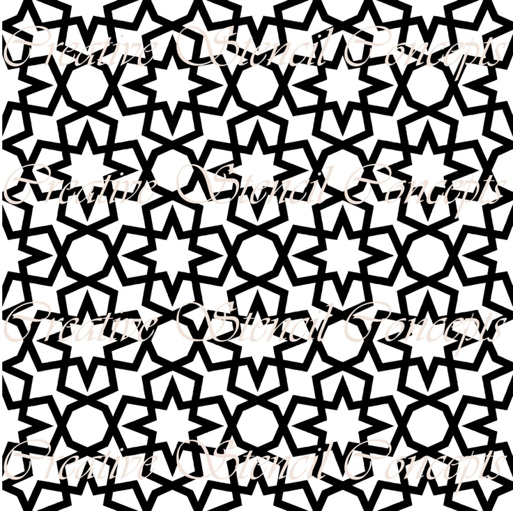 Moroccan Lattice Allover Repeatable Pattern Stencil MULTIPLE SIZES AVAILABLE on Industry Standard 7 Mil Blue Mylar Design 114486760