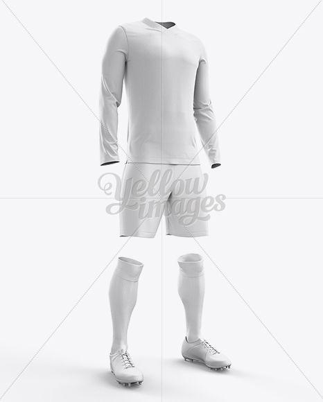 Football Kit With V-Neck Long Sleeve Mockup / Half-Turned View