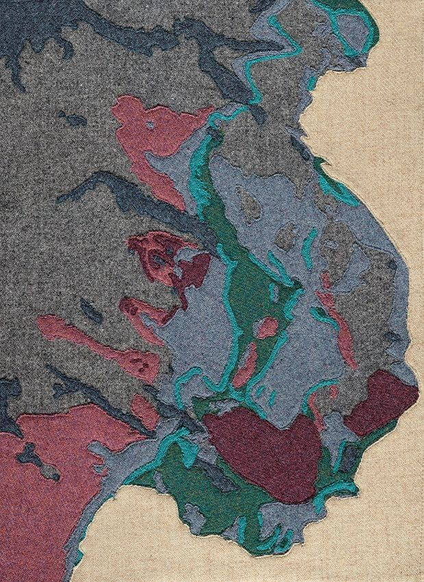 Geology, Assynt 'Zone of Complication' by Scottish Textile Artist Jane Hunter 2015.   This area of Assynt has long been referred to, in geological terms, as 'The Zone of Complication'. Geologists studying the area became confused when they found metamorphosed rocks at the top of the sequence, appearing to be the youngest, however they had been metamorphosed implying they had once been buried deep in the Earth's crust. This was further complicated by the fact that the underlying rocks did…