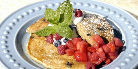 Batter Be Good To Me Pancakes.  Love to use wheat flour and add a little flax meal to the already healthy recipe.  These are delicious!