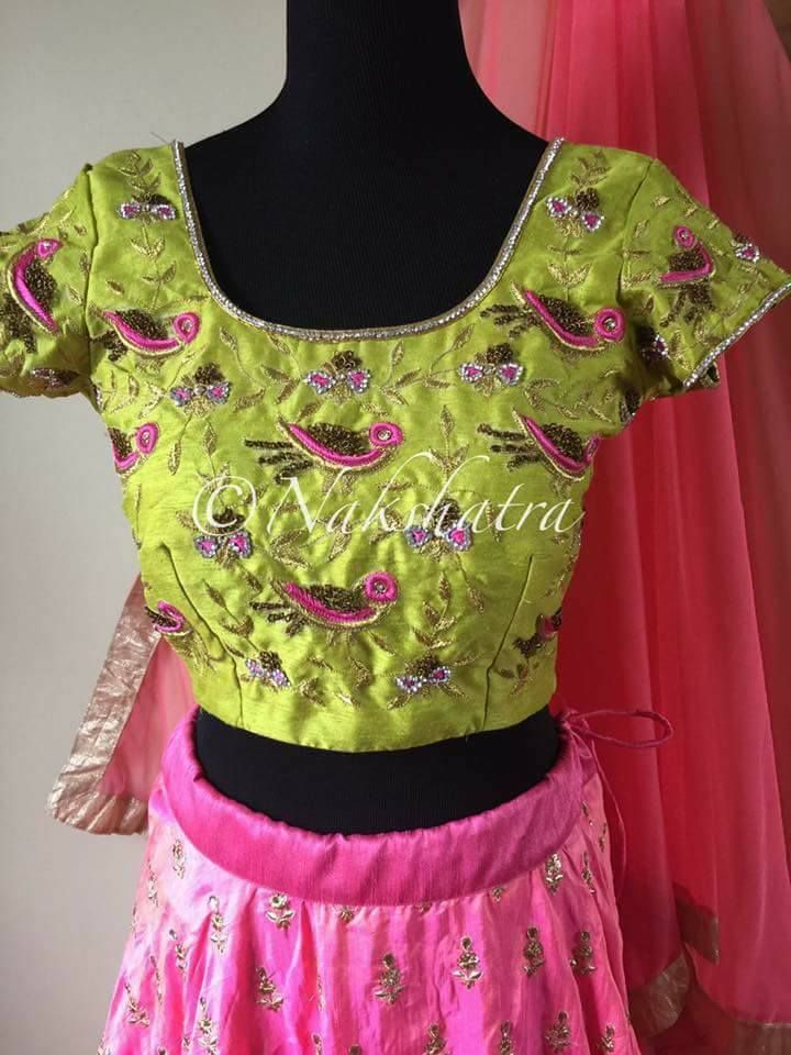 Beautiful parrot green color blouse with bird embroidery thread work. 15 May 2017