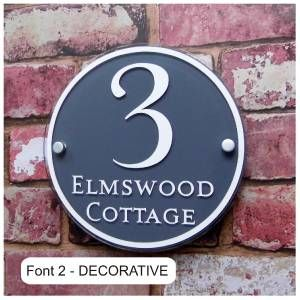 Personalised House Sign Door Number Street Address Plaque Modern Glass Round | eBay