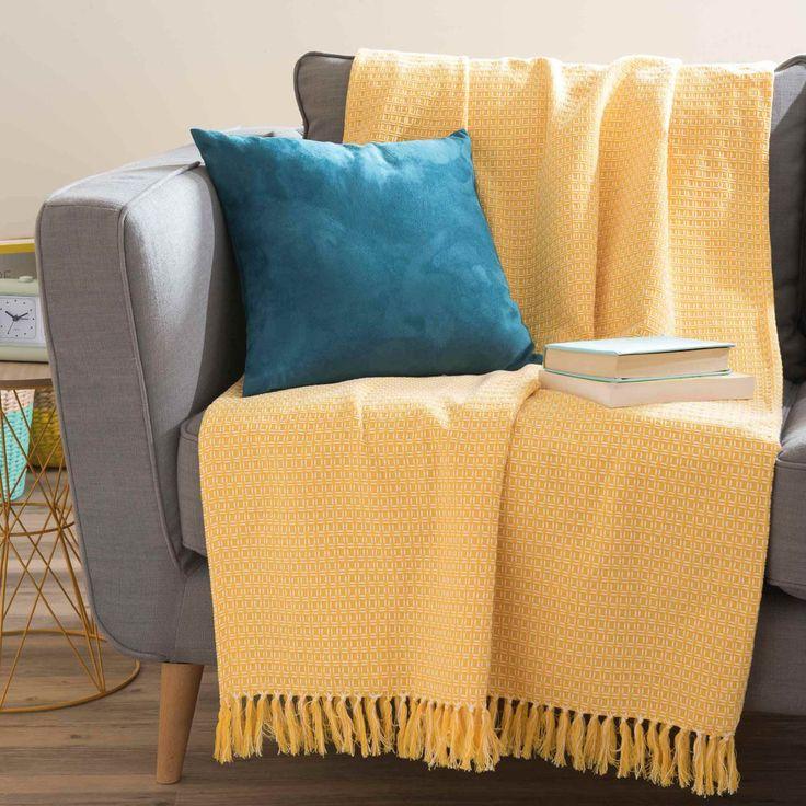 Copriletto giallo a motivi in cotone ...