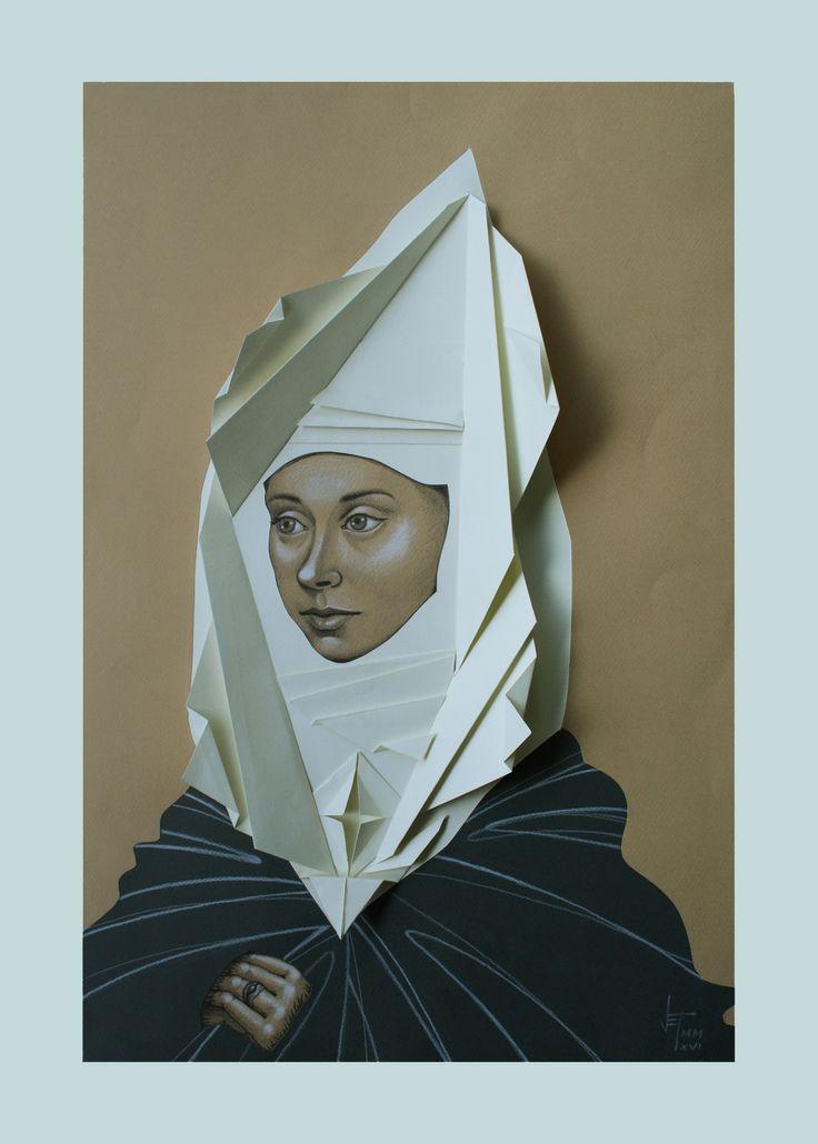 Vania Elettra Tam - Origami clitoridei - Punto G - 2016 - 60x40 cm - tecnica mista su carta