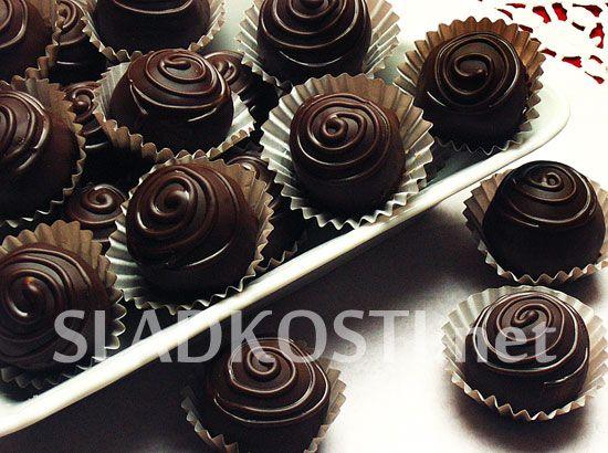 Višňové čokoládové bonbóny