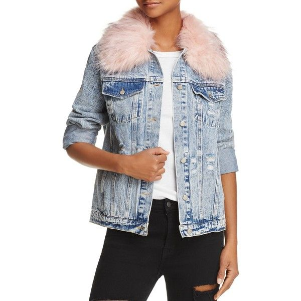 Honey Punch Faux Fur Collar Denim Jacket (£76) ❤ liked on Polyvore featuring outerwear, jackets, jean jacket, blue jean jacket, acid wash jean jacket, acid wash denim jacket and denim jackets
