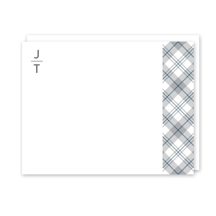 Gray Toned Plaid Personalized Note Card (Stationery) l Peony Hill Press -  Several styles to choose from - modern and classic!⠀ Check them out for the guy in your life - boyfriends, husbands, dads and grandpas!⠀ .⠀ .⠀ .⠀ .⠀ ⠀ #peonyhillpress #php #stationery #notecards #dad #men #male #correspondence #hello #thankyou #notepaper #gift #present #dad #father #grandpa #grandfather #uncle #teacher #giftidea #personalized #custom