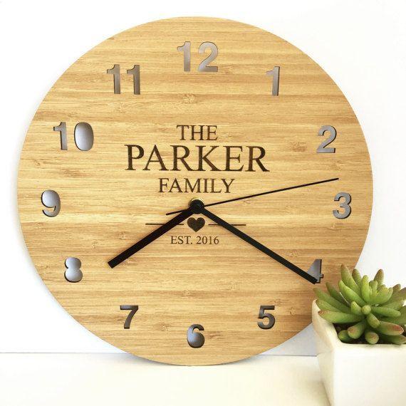 The Family Bamboo Clock Etsy Clock Wooden Clock Bamboo