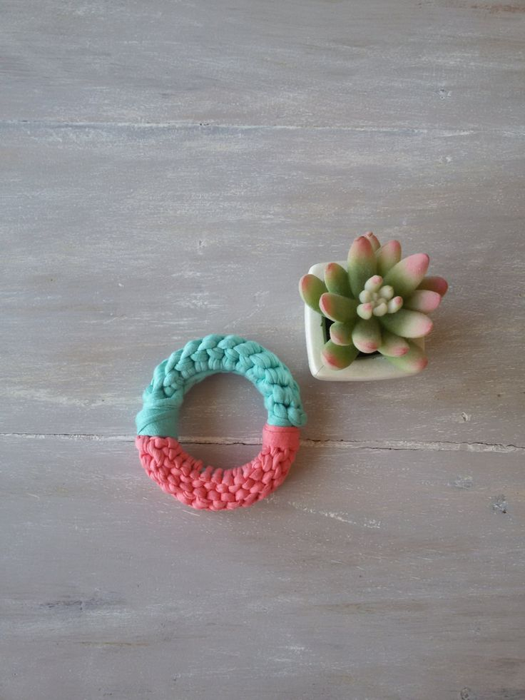 T shirt yarn bracelet -knit bracelet - chunky bracelet - knit bangle- pink and blue knit bracelet by MerakibyStevie on Etsy