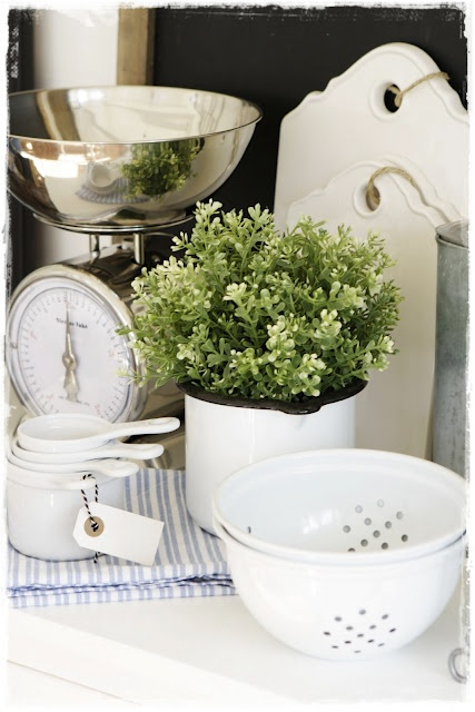 Kitchen Vignette With Vintage Scale Plant Measuring Cups