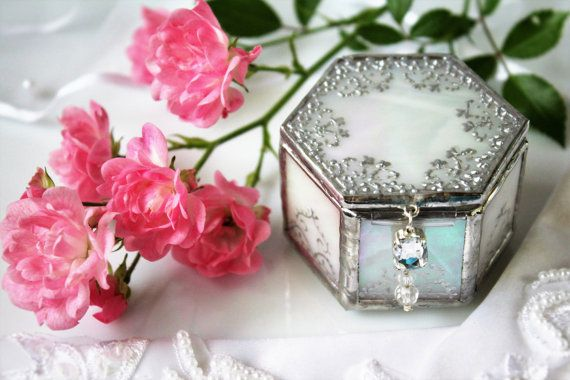 Elegant silver ring holder, Monogrammed wedding memento, Glass engagement box, Unique proposal ring box, Handcrafted wedding ring holder