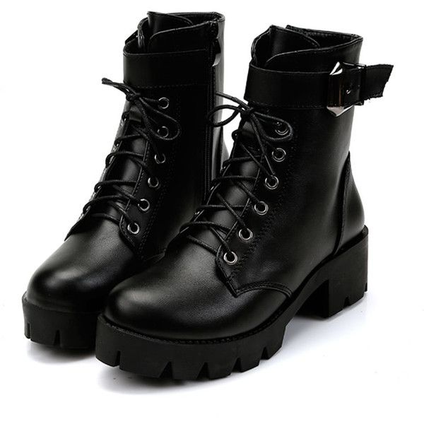Lace Up Platform Boots ($21) ❤ liked on Polyvore featuring shoes, boots, обувь, black, black booties, lace-up booties, chunky black boots, chunky platform boots and black ankle booties