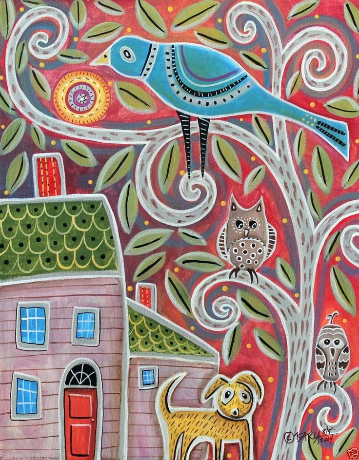 Owls and Dog 14x11 ORIGINAL Canvas PAINTING Abstract House Bird FOLK ART Karla G.. new painting for sale...hope you like this one..new painting for sale...hope you like this one...very whimsical...ready to hang...