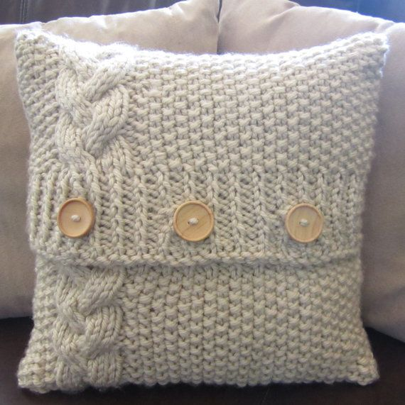 PDF KNITTING PATTERN - Braided Cable chunky hand knit 16 x 16 pillow cover - So so cute!!!