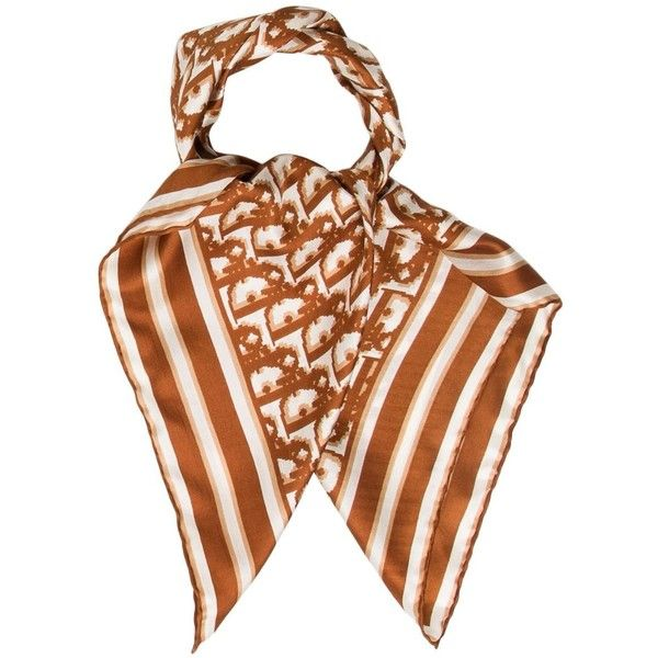 Pre-owned Christian Dior Diorissimo Printed Scarf (2.838.875 VND) ❤ liked on Polyvore featuring accessories, scarves, brown, patterned scarves, print scarves, brown scarves, striped scarves and striped shawl