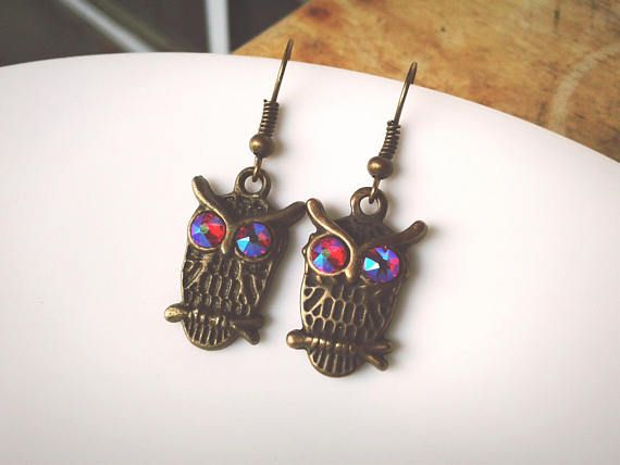Add these sparkly little owls to your wardrobe♡♡♡ High quality handmade jewelry from ArtisanJewelryGifts.etsy.com