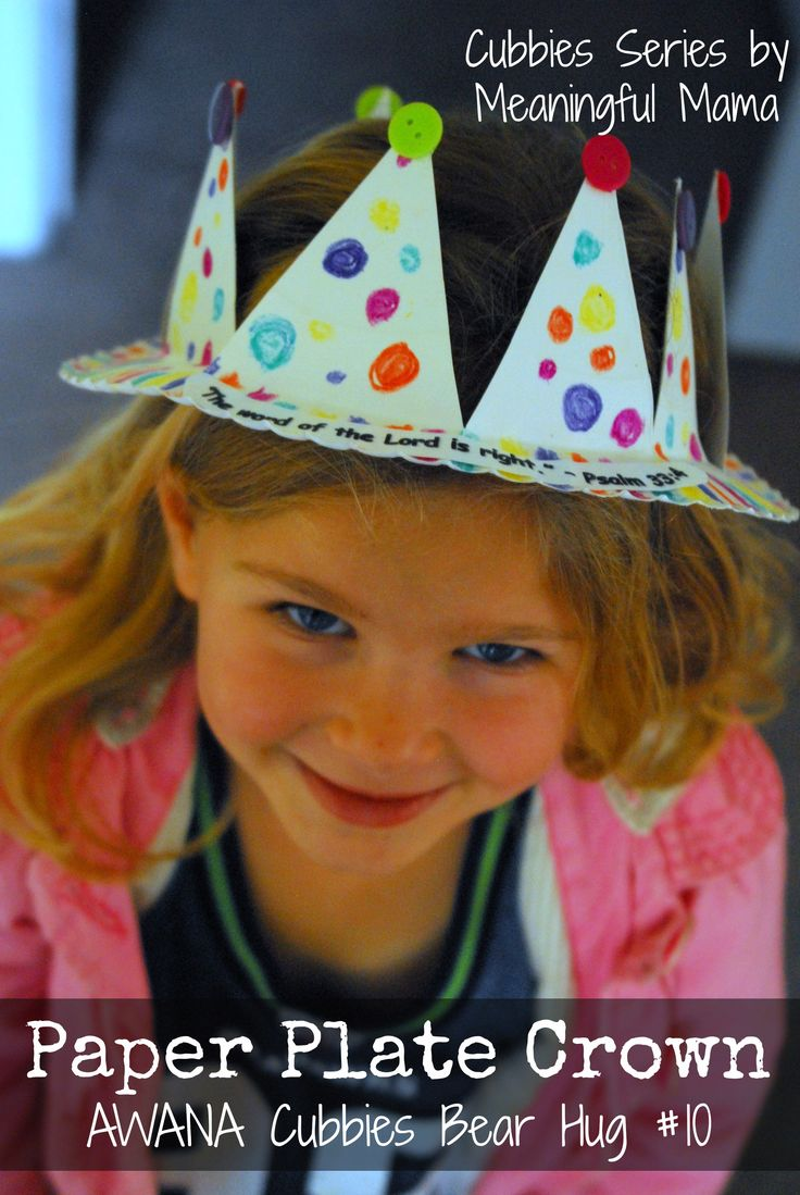 Paper Plate Crown - AWANA Cubbies Bear Hug Craft #10 - This is an easy way to make a child a crown. Seriously? Just a few cuts into a paper plate? - Meaningful Mama