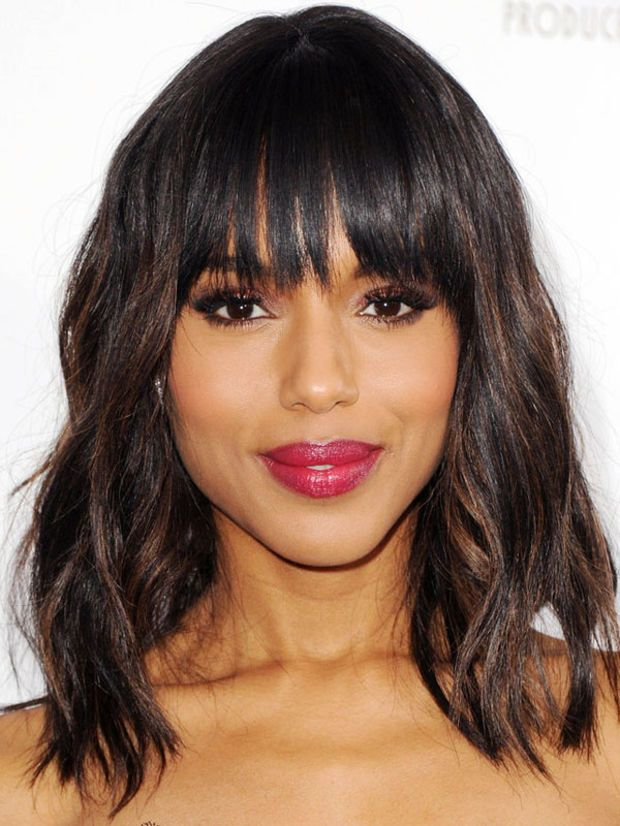 Kerry Washington's choppy bangs. http://beautyeditor.ca/2014/06/13/best-bangs-for-heart-face