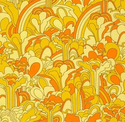 The Beatles Yellow Submarine Landscape Psychedelia Yellow fabric 1 yard. $8.50, via Etsy.