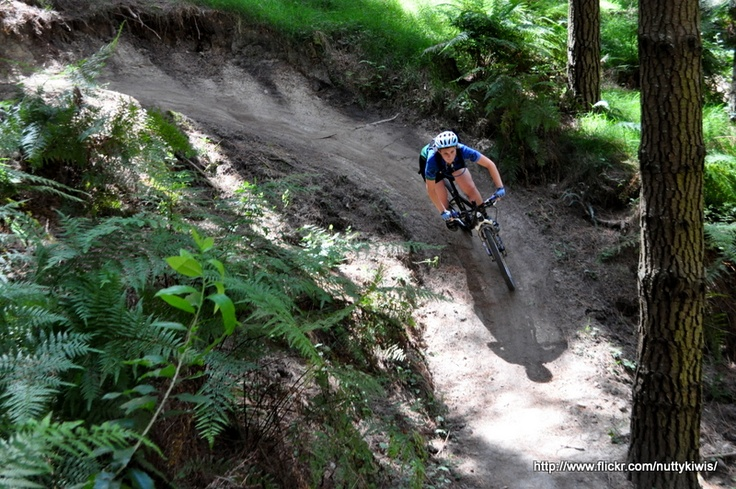 Railing the cool berms at Eskdale MTB park, Hawkes Bay.