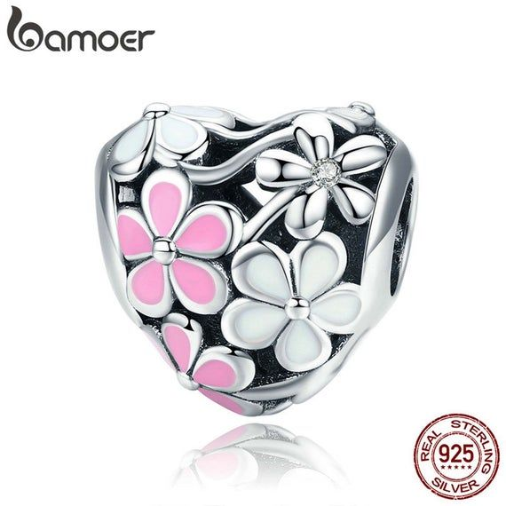 Bamoer 925 Sterling Silver Cute Enamel Parrot charm Pendant With cz Fit Bracelet