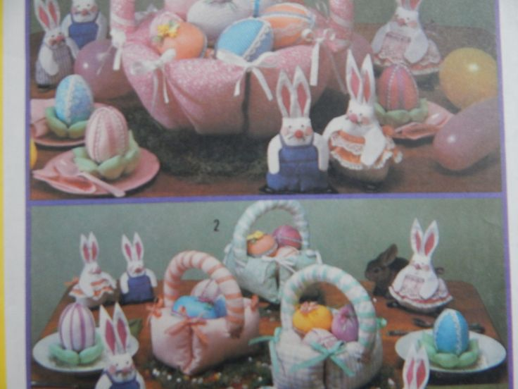 Easter Decoration Sewing Pattern for Bunnies, Decorated Eggs & Baskets/ Vintage Simplicity 5870/ table centerpiece, fabric basket, Uncut by RedWickerBasket on Etsy