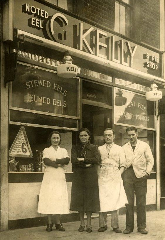 G. KELLY pie and mash shop front ca. 1940 - George Kelly opened the shop in 1937. By the mid 1950's the shop had been bought by George's brother in-law, Bill Kingdon. Bill's daughter, Sue, owns the shop today.