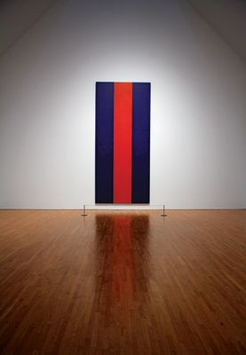 """Voice of Fire by Barnett Newman - Acrylic on Canvas 213"""" x 94"""". Originally painted for Expo '67, purchased by the Canadian Gov't in '89 for 1.8 million amid a massive storm of controversy surrounding the purchase."""