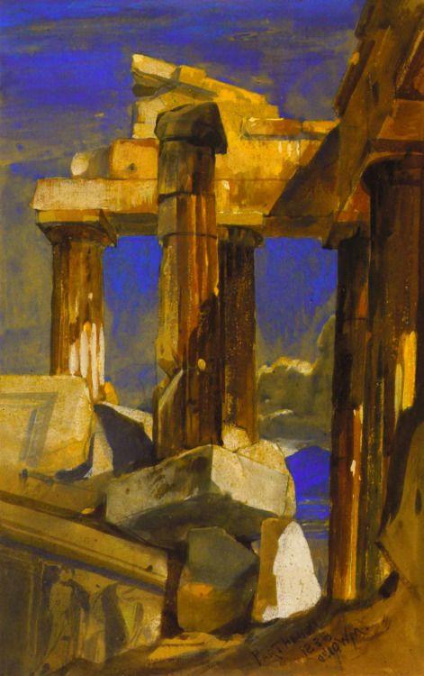 The Parthenon - William James Müller, View from the Interior 1838. Ο Παρθενώνας - Γουίλιαμ Τζέιμς Μιούλερ. Η θέα από το εσωτερικό 1838.