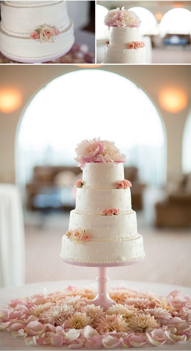 Pretty Pink White Wedding Cake