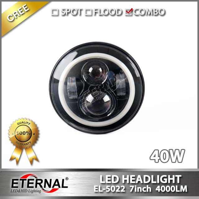 7in 80W Round Universal BLACK Chrome sealed dual Hi/Low beam LED Headlight with halo angel eyes for Jeep Wrangler  97-15 CT TJ LJ Jk Toyota FJ Hummer H1 Camaro Land Rover Defender Miata Harley motorcycle