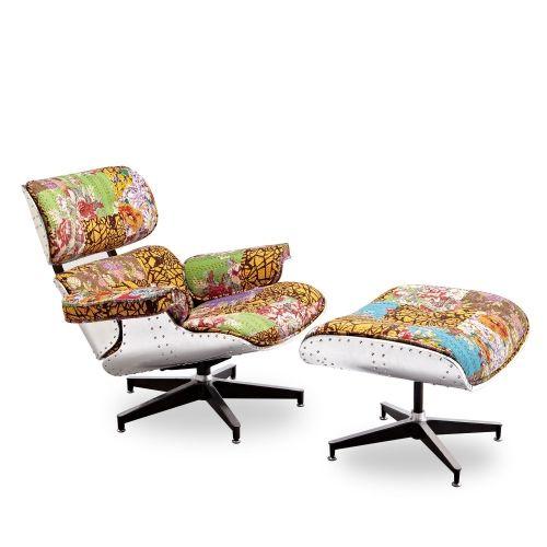 Sillón inspiración butaca Charles & Ray Eames tapizada en patchwork