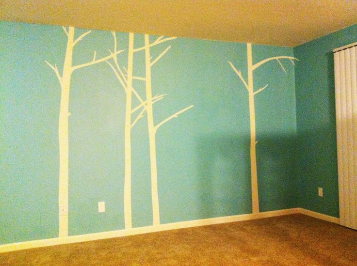 Wall Decoration Tree Painting: Reverse Painted Tree Mural, Using Painter's Tape.