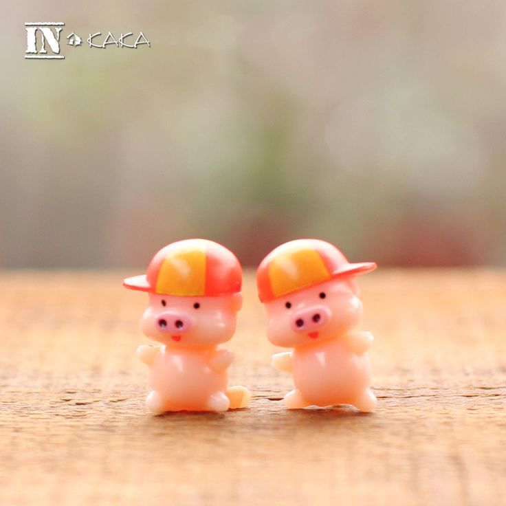 2 Pcs New Home Micro Garden Miniature Decoration Pink Pig Animal Action Figure //Price: $7.95 & FREE Shipping //     #actionfigure