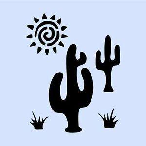 Cactus Stencil Western Sun Southwestern Stencils Template Craft ...