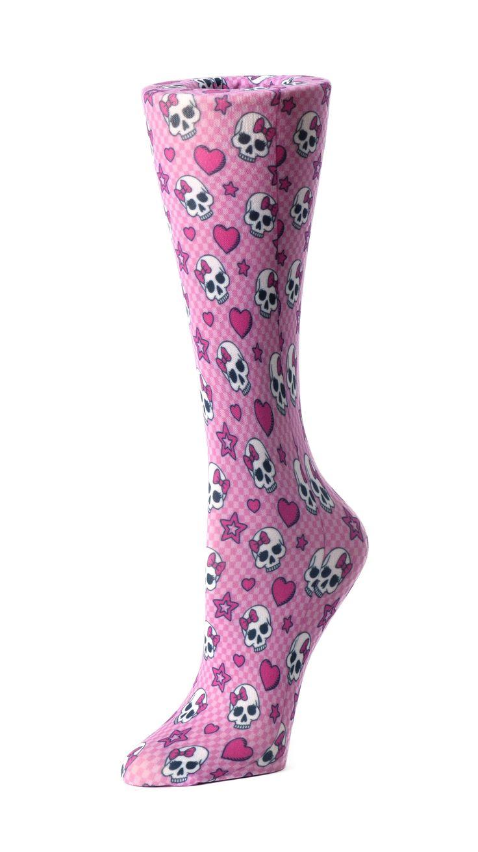 Pink Skull Compression Socks