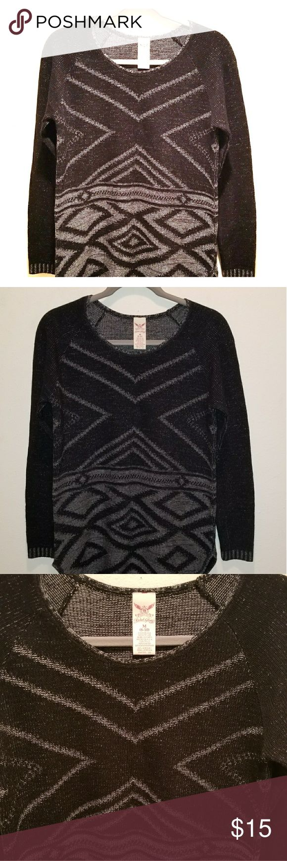 Black & Grey Aztec Tribal Print Sweater Trendy pull over sweater. Excellent condition. Faded Glory Sweaters Crew & Scoop Necks