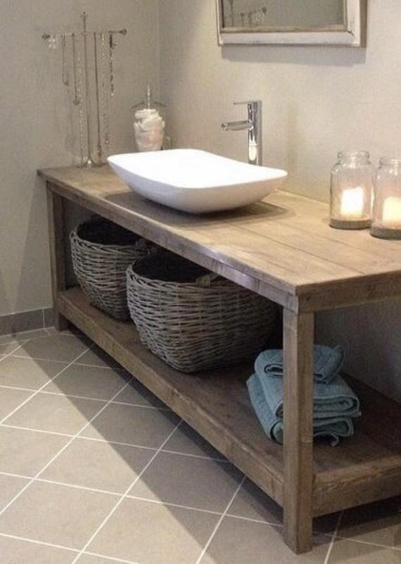 Custom Made Wood Bathroom Vanity Color Shown Is Weathered Oak