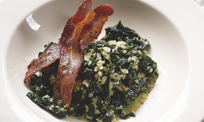 Hugh Fearnley-Whittingstall's savoury porridge with kale and bacon