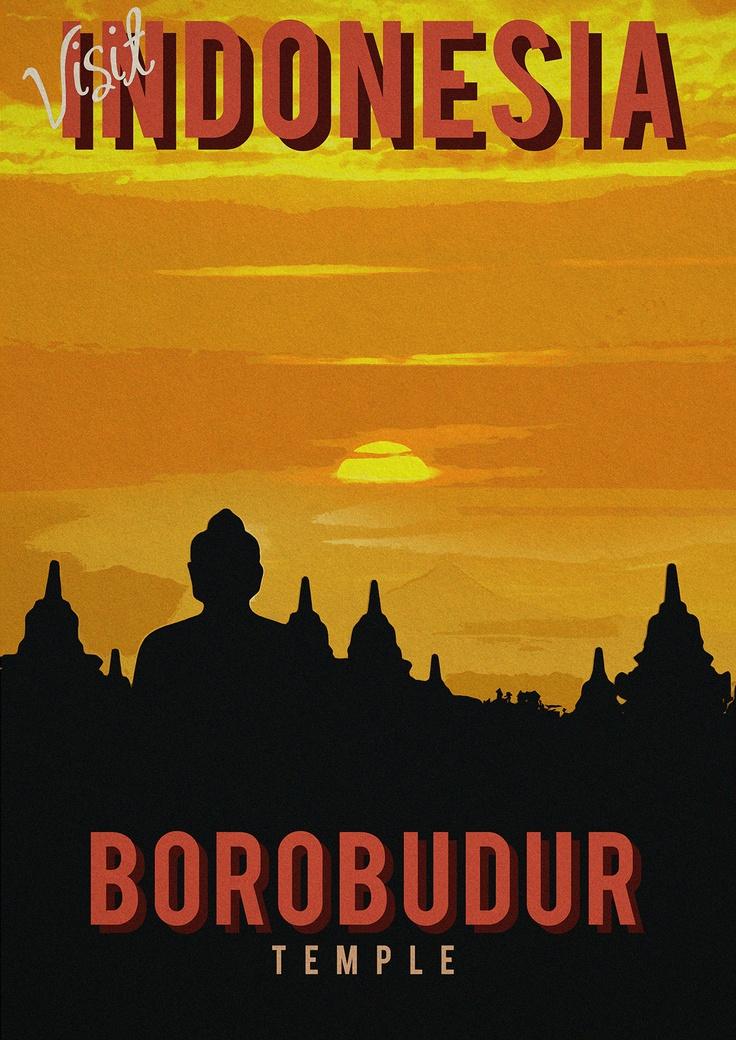 Borobudur temple retro poster
