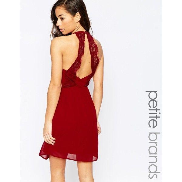 Vero Moda Petite Back Detail Dress ($52) ❤ liked on Polyvore featuring dresses, red, elastic waist dress, chiffon dress, white chiffon dress, reversible dress and petite chiffon dress